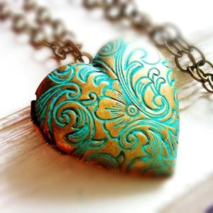 Floral Patina Heart Locket Necklace